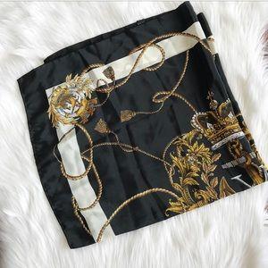 {Vintage} Black & Gold Printed Scarf.